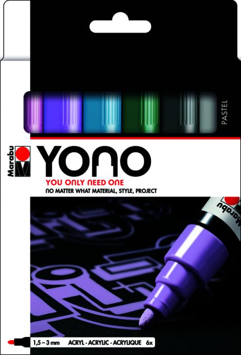 Marabu YONO Marker Set PASTEL 6 x 1,5-3 mm
