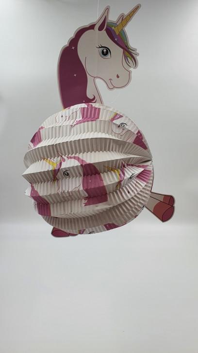 3D Laterne Rund Einhorn