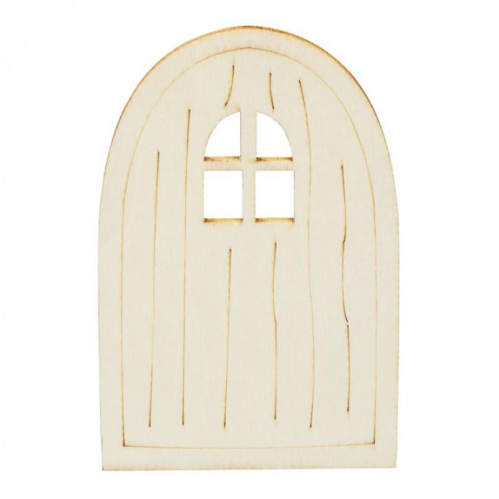 Holztür I 6 x 9,5 x 0,3 cm natur