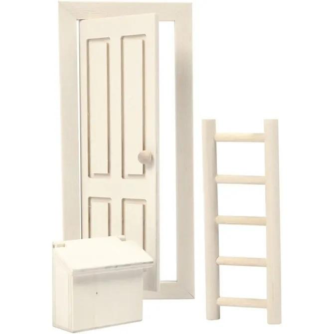 Wichtelmöbel Set, Tür, Leiter, Briefkasten 8 x 18 cm