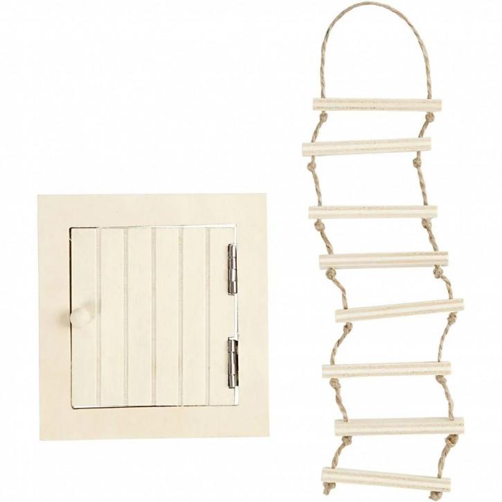 Wichtelmöbel Set, Dachluke und Strickleiter 9 x 20 cm