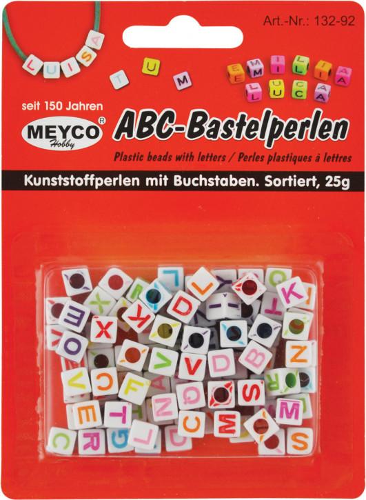 ABC-Bastelperlen, Kunststoffperlen mit Buchstaben 7X7X7mm 25g sortiert