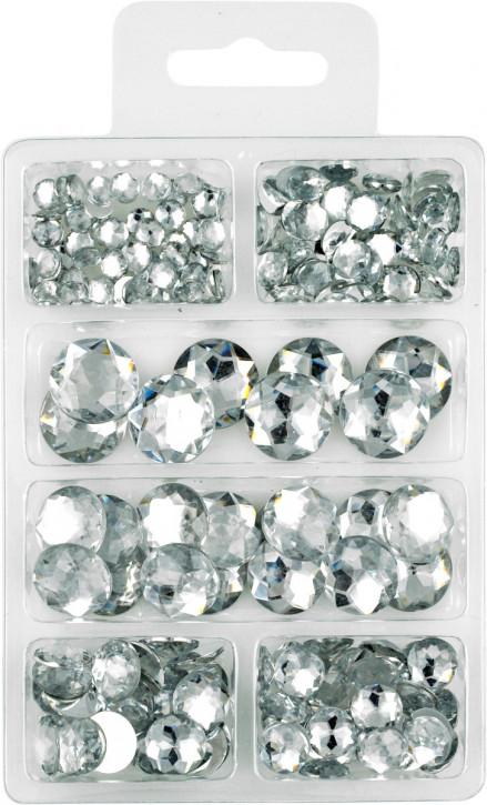Acryl- Diamanten- Set, klar, rund