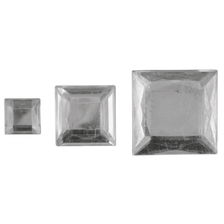 Acryl- Strassquadrate, platin 6,10,14mm, SB-Btl 310Stück