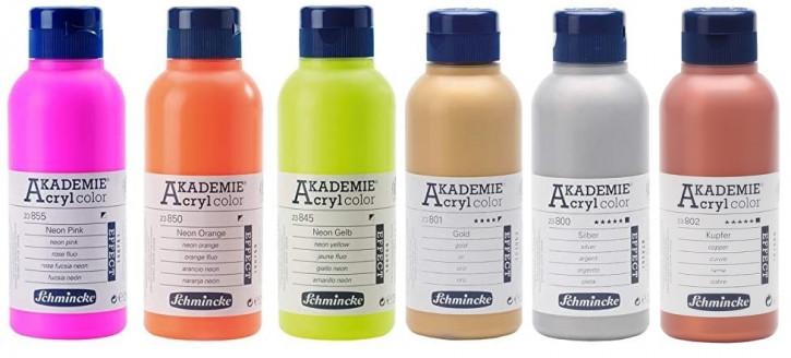 AKADEMIE Acryl Color 250ml Tube, Gold, Silber, Neon