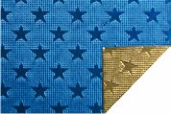 Alu-Doppelfolie Sterne blau / gold 50 X 78 cm