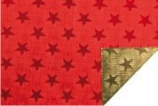 Alu-Doppelfolie Sterne rot / gold 50 X 78 cm