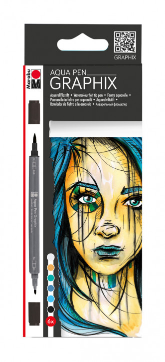 Aqua Pen GRAPHIX 6Stifte, blautöne