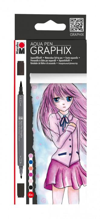Aqua Pen GRAPHIX 6Stifte, rosatöne