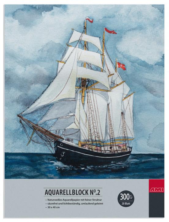 Aquarellblock No.2 300 g/m² 30x40cm 20 Blatt