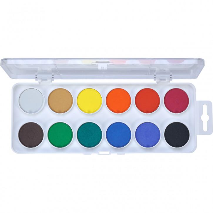Aquarellkasten Schule 12 Farben, weiß