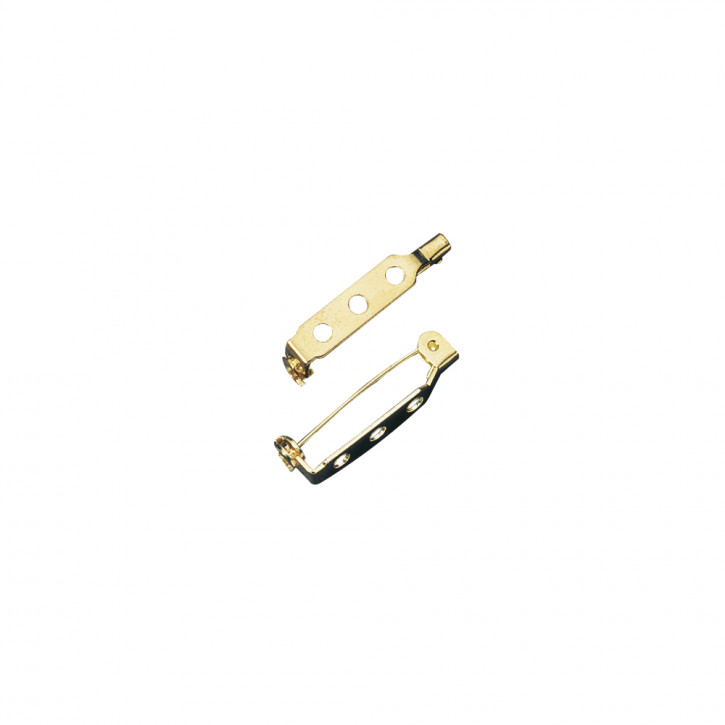 Broschennadel mit Steg und SV gold 30mm, SB-Btl 4Stück