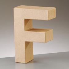 Buchstabe F aus Pappmaché , H 10 x B 6,8 x T 3 cm