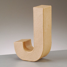Buchstabe J aus Pappmaché , H 10 x B 6,4 x T 3 cm