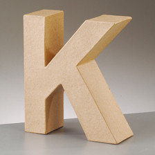 Buchstabe K aus Pappmaché , H 10 x B 8,3 x T 3 cm