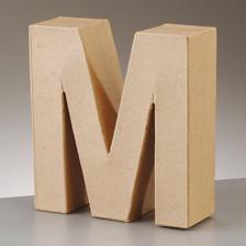 Buchstabe M aus Pappmaché , H 10 x B 9,5 x T 3 cm