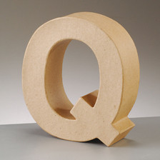 Buchstabe Q aus Pappmaché , H 10 x B 9 x T 3 cm