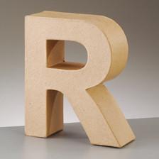 Buchstabe R aus Pappmaché , H 10 x B 8,1 x T 3 cm