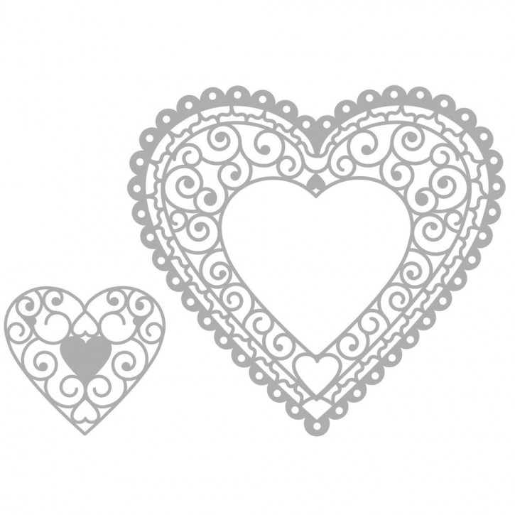 Delicate Die- Heart Doily 4,8x4,5cm+11,4x10,6cm, SB-Etui 2Stück