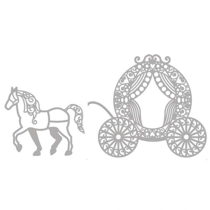 Delicate Die- Horse and Carriage 6,4x5,6cm+9,6x8,3cm, SB-Etui 2Stück