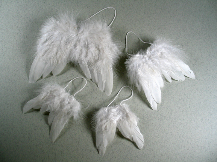 Engelsflügel, weiße Federn ca. 7,5x9,5 cm, SB-Btl. 2 Stück