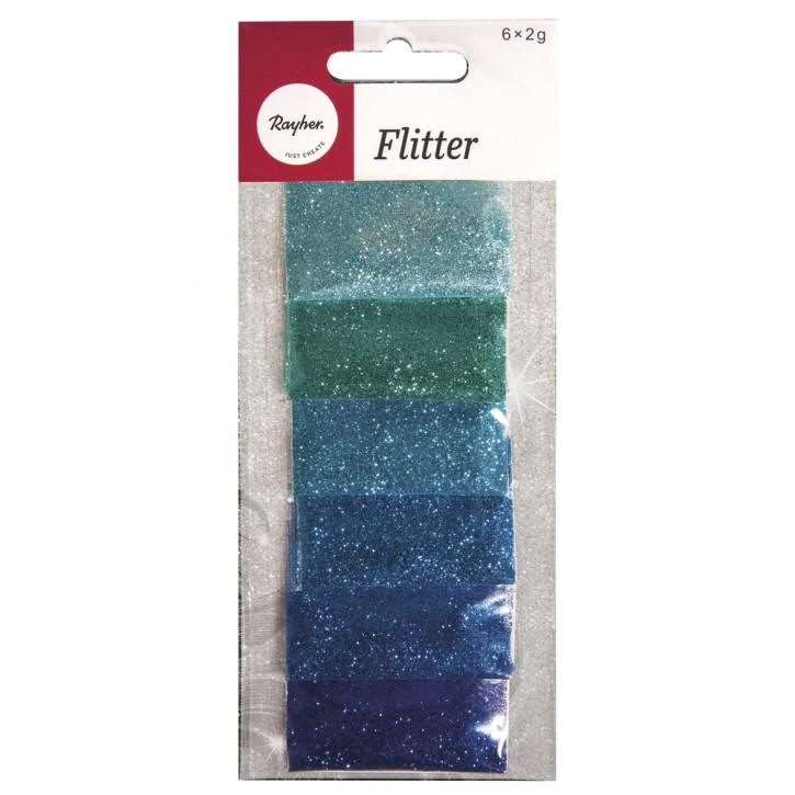 Flitter SB-Mischung 6 Farben á 2g, SB-Btl 12g, blau/türkis