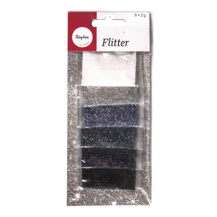 Flitter SB-Mischung 6 Farben á 2g, SB-Btl 12g, silber/schwarz