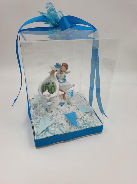 Geschenkbox, Geldgeschenk Geburt Junge , 18x18x25cm