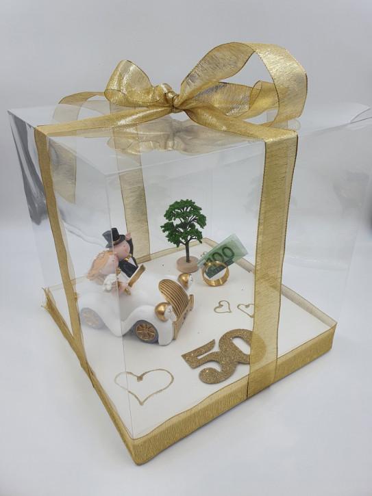 Geschenkbox, Geldgeschenk Goldene Hochzeit, 30x30x30cm