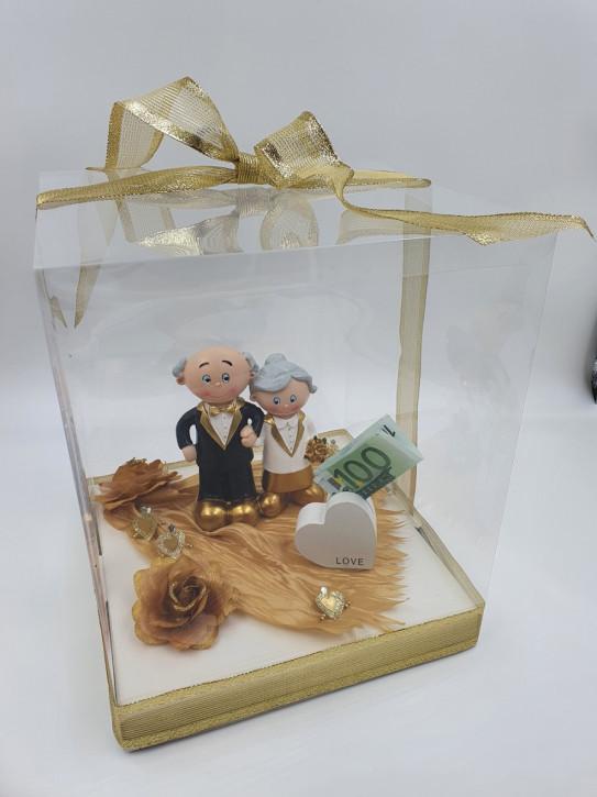 Geschenkbox, Geldgeschenk Goldene Hochzeit Love , 25x25x30cm