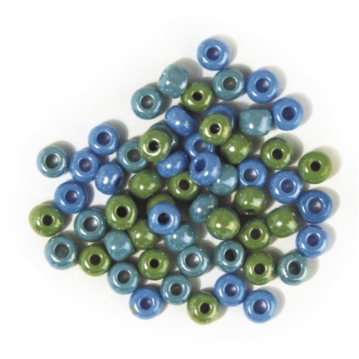 Glas-Großlochradl,opak,grün, blau Töne 6,7 mm, Dose 55g
