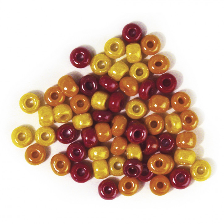 Glas-Großlochradl,opak, rot, gelb Töne 6 mm, Dose 55g