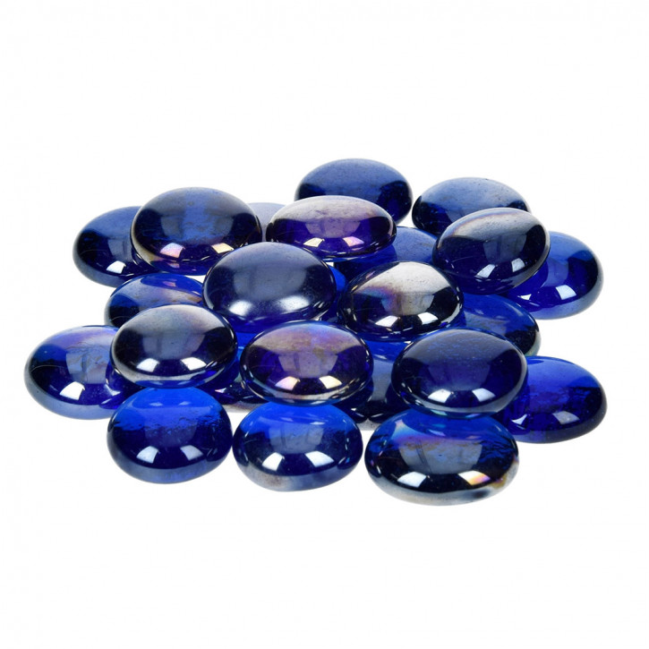 Glas-Nuggets, irisierend, blau, 18-20mm, 100g