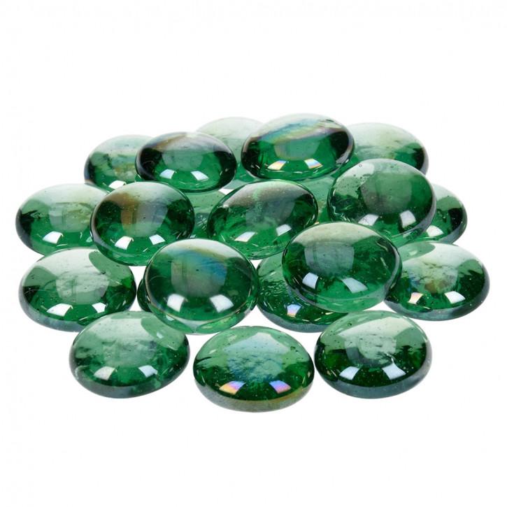Glas-Nuggets, irisierend, grün, 18-20mm, 100g