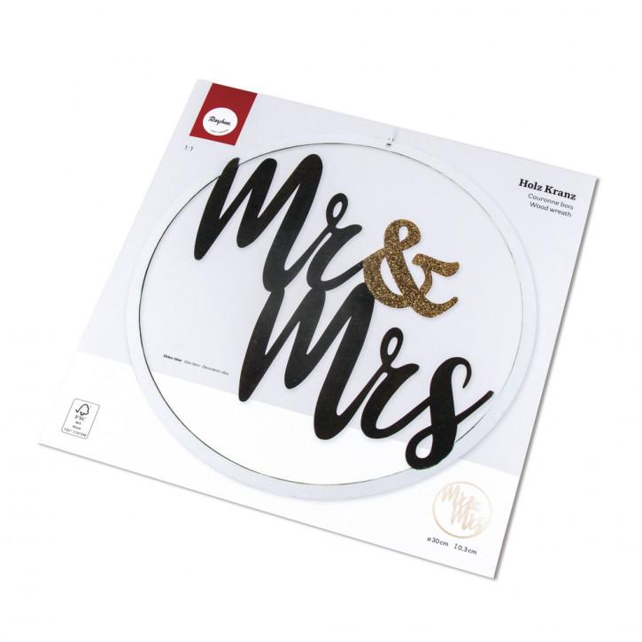 H-Kranz Mr&Mrs, 30cm ø, zum Hängen, Box 1Stück, natur