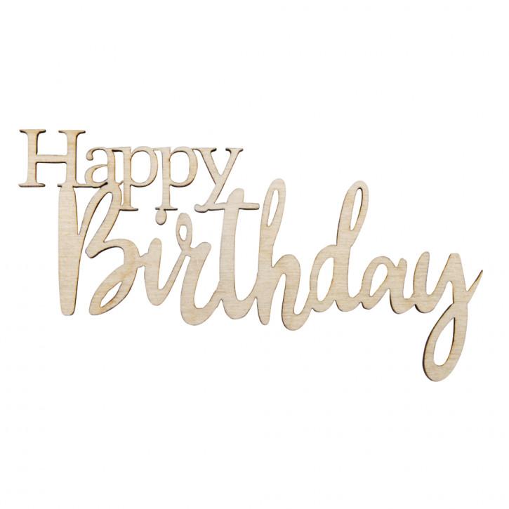 H-Minischrift Happy Birthday 8,5x4,7x0,3cm, SB-Btl 4Stück, natur