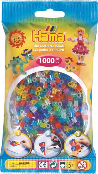 Hama Bügelperlen Transparent 1000Stück, Glittermischung