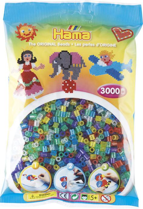 Hama Bügelperlen Transparent 3000Stück, Glittermischung