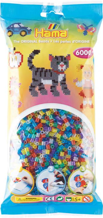 Hama Bügelperlen Transparent 6000Stück, Glittermischung