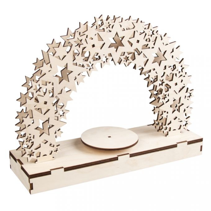 Holz 3D Bausatz Sterne FSCMixCred Holz 3D Bausatz Sterne FSCMixCred, 30x9x23cm, +Drehteller, Box, natur