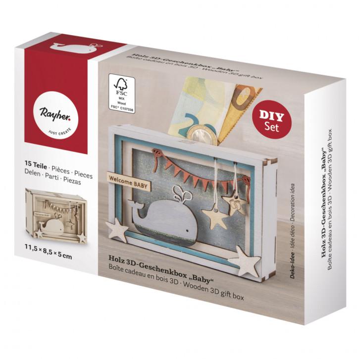 Holz 3D Geschenkbox Baby, 11,5x8,5x5cm, 15tlg. Bausatz, Box 1Set, natur