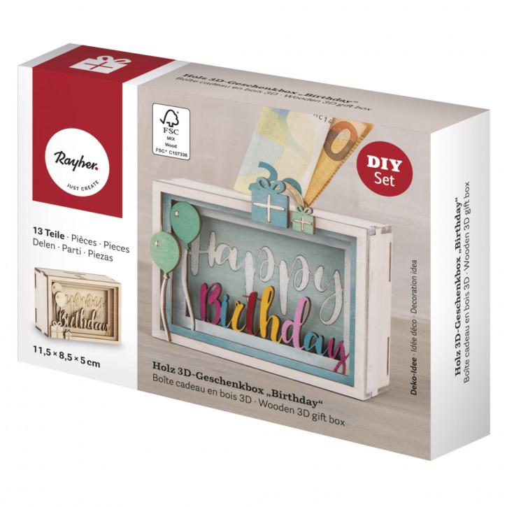 Holz 3D Geschenkbox Birthday, 11,5x8,5x5cm, 13tlg. Bausatz, Box 1Set, natur