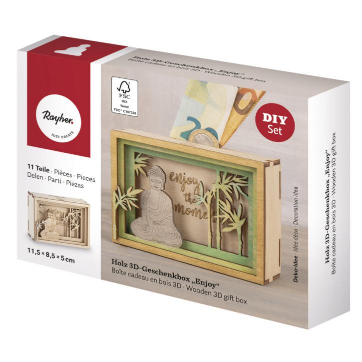 Holz 3D Geschenkbox Enjoy, 11,5x8,5x5cm, 11tlg. Bausatz, Box 1Set, natur