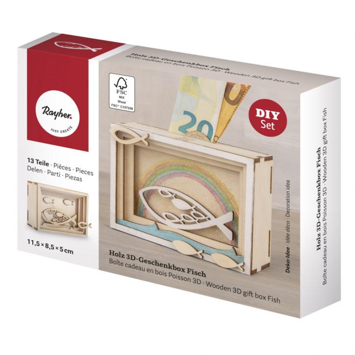 Holz 3D Geschenkbox Fisch, 11,5x8,5x5cm, 13tlg. Bausatz, Box 1Set, natur