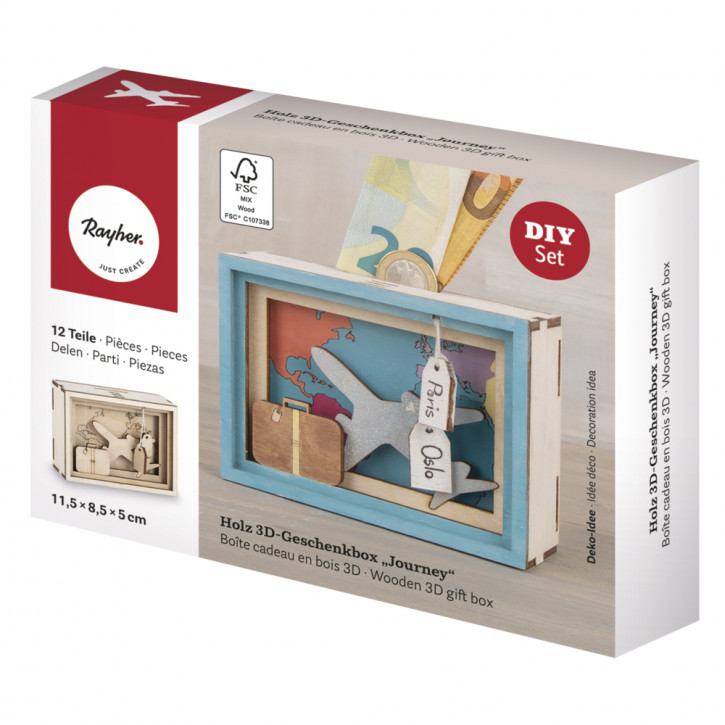 Holz 3D Geschenkbox Journey, 11,5x8,5x5cm, 12tlg. Bausatz, Box 1Set, natur