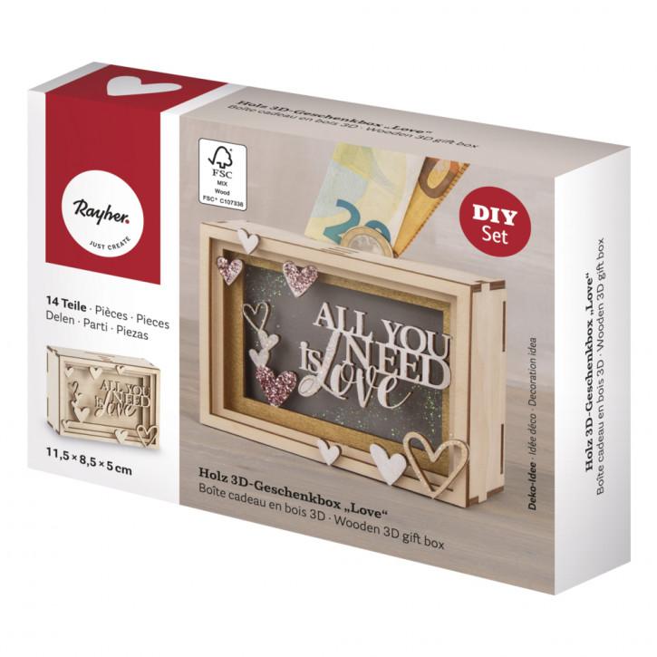 Holz 3D Geschenkbox Love, 11,5x8,5x5cm, 14tlg. Bausatz, Box 1Set, natur