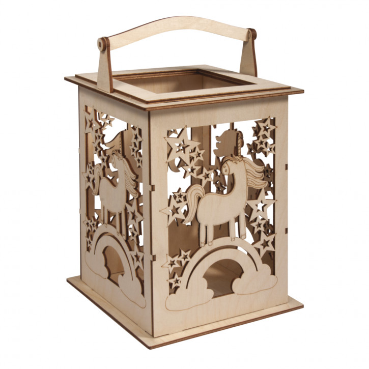 Holz Laterne Einhorn m. Griff,FSCMixCred 15,3x15,3x26,5cm, 15-tlg., Box 1Set, natur