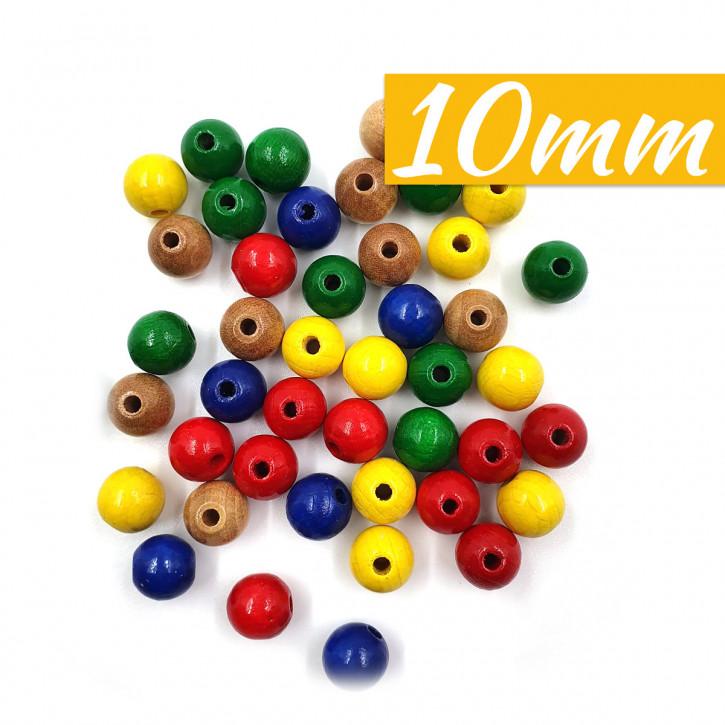 Holz Perlen FSC 100%, poliert, 10mm ø SB-Btl 52Stück
