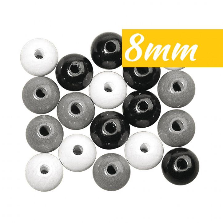 Holz Perlen Mischung 8mm ø poliert, SB-Btl 82Stück, lutsch- und speichelfest