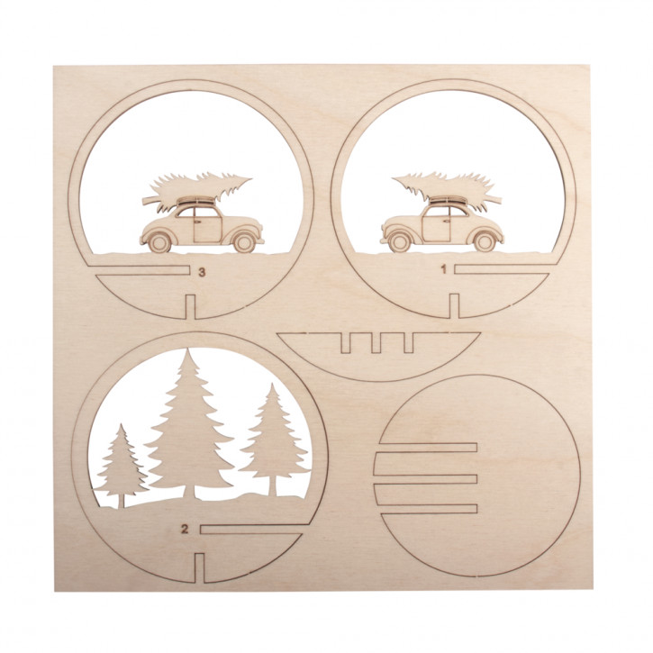 Holz-Steck.Auto+Baum,FSCMixCred, 9,5cm ø 5-tlg., SB-Btl 1Set, natur